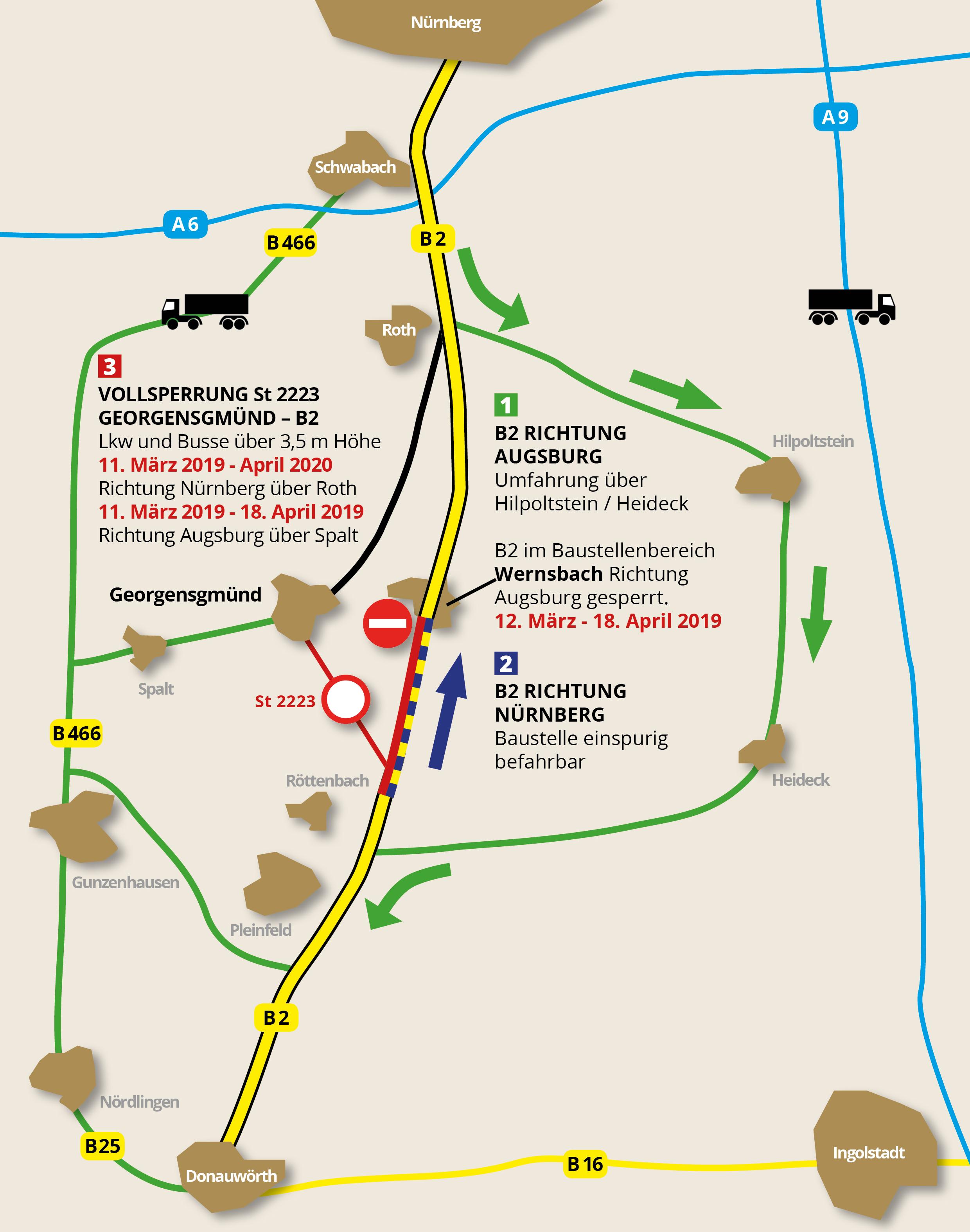Karte der Ortsumfahrung B2 Wernsbach